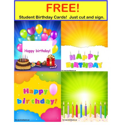 FREE Birthday Cards for Students