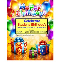 Student Reward Birthday Incentive Posters for Back to School Classroom