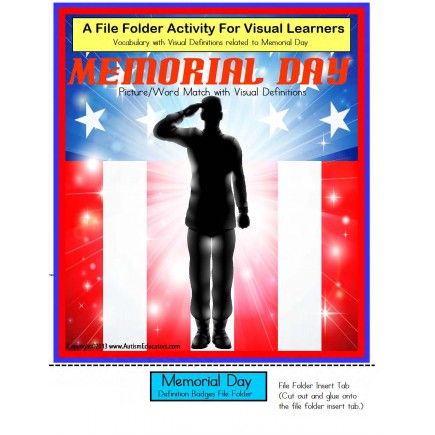 Memorial Day File Folder Activity for Special Education K-3