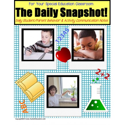 Special Education Teacher Student and Parent DAILY SNAPSHOT Home Notes with Data