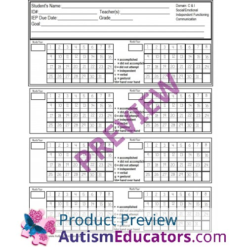 Data Tracking Sheets and Cards