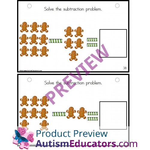 Gingerbread Man Subtraction for Kindergarten Math Center for Special ...