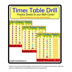 Multiplication Times Tables Practice Boards