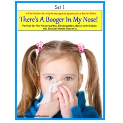 Autism Social Story and File Folder Activity About Picking Your Nose