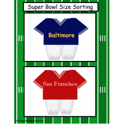 FREE    Kindergarten Size Sorting Super Bowl Worksheet