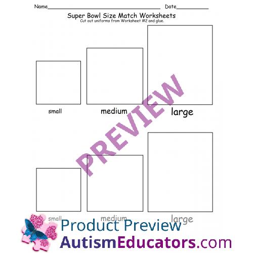 free kindergarten size sorting super bowl worksheet. Black Bedroom Furniture Sets. Home Design Ideas