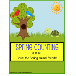 Spring File Folder Activities Count To 10 for Kindergarten, Pre-K, Autism {Butterflies and Animals}