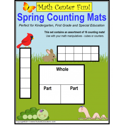 Spring Math Work Mats {Kindergarten/First Grade/Special Education}
