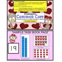 Valentine's Day Kindergarten Math Common Core Penguin Hearts Counting to 20
