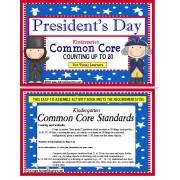 President's Day Kindergarten Common Core Activity Count to 20