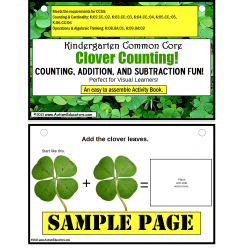 St. Patrick's Day Clover Counting Math Activity Task Card Book {Kindergarten Common Core, Autism, Special Education}