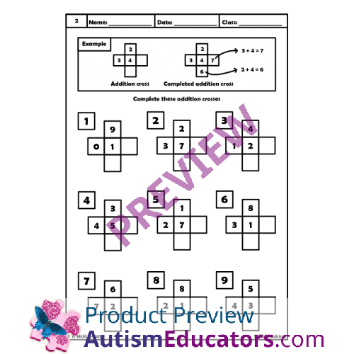 Crosses Math Puzzle Worksheets – Addition Puzzle Worksheets
