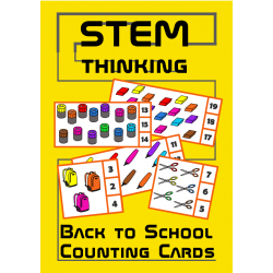 Back to School Counting 1-20 Visual Math Task Cards