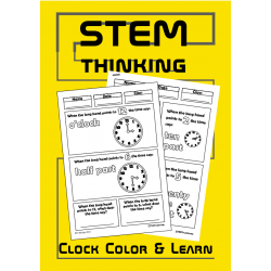 Telling the Time Analogue Clocks Color and Learn Math Activity