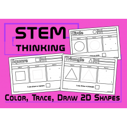 Color, Draw, Trace 2D Shapes Worksheets, STEM