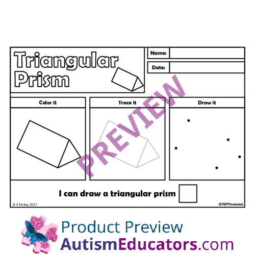 Draw, Trace 3D Shapes Worksheets, STEM