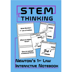Newton's 1st Law of Motion Balanced Forces Interactive Notebook, Physics
