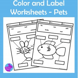 Pets Color and Label Worksheets
