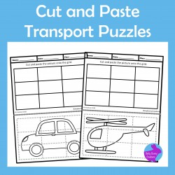 Cut & Paste Transportation Picture Puzzles