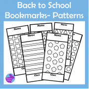 Back to School Color In Patterened Geometric Shapes Bookmarks