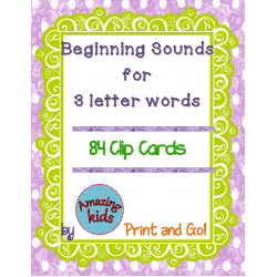 Beginning Sounds for 3 Letter Words Clip Cards
