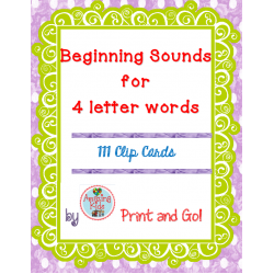 Beginning Sounds for 4 Letter Words Clip Cards