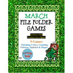 March File Folder Games - Math & Reading Skills