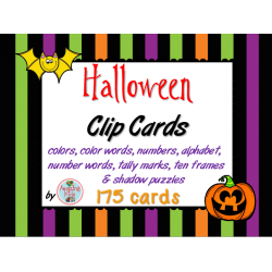 Halloween Clip Cards - Math & Reading Skills
