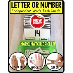 Distinguishing LETTERS and NUMBERS Task Cards TASK BOX FILLER