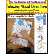 Autism: FOLLOWING VISUAL DIRECTIONS Worksheets for Non-Readers with Data/IEP Goals SET#1
