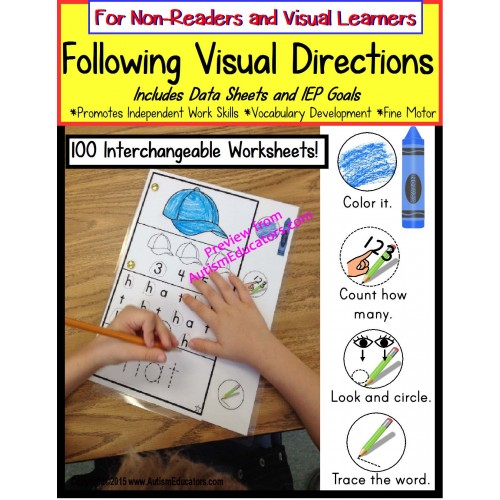 Autism Following Visual Directions Worksheets For Non Readers With