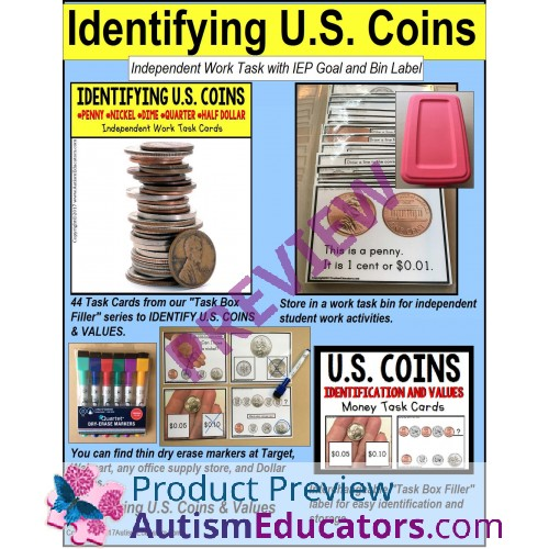 IDENTIFYING U S  COINS Task Cards for Autism and Special Needs TASK BOX  FILLER
