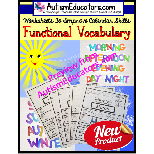 Where Vocabulary Of Autism Is Failing >> Life Skills Functional Calendar Vocabulary Worksheets With Data For Autism And Special Education