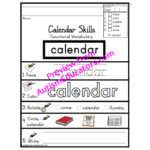 Skills FUNCTIONAL Calendar VOCABULARY Worksheets with DATA for ...