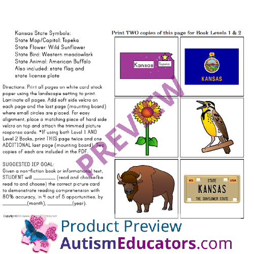 Kansas State Symbols Adapted Book For Special Education And Autism