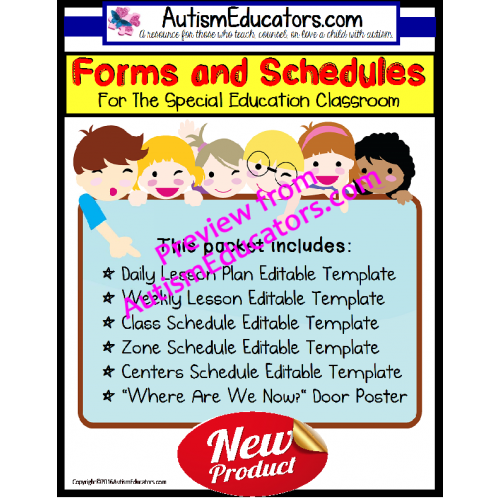 No Frills Editable Forms With Lesson Plans And Schedule Templates