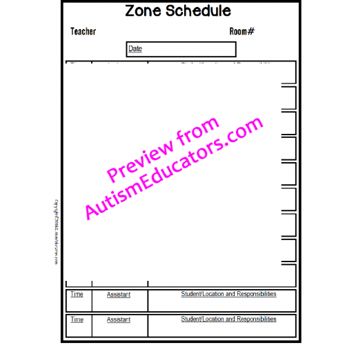 No frills editable forms with lesson plans and schedule for Special education schedule template