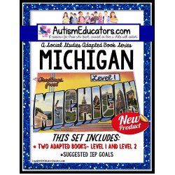 MICHIGAN State Symbols ADAPTED BOOK for Special Education and Autism