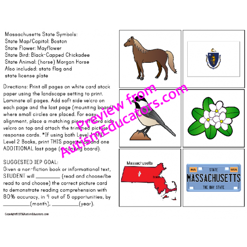 State Symbols ADAPTED BOOK for Special Education and Autism