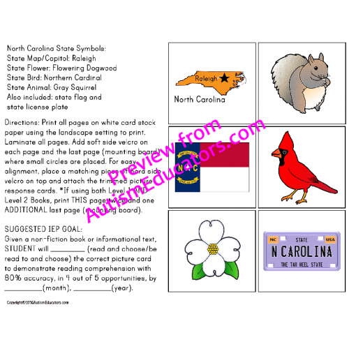 Carolina State Symbols Adapted Book For Special Education And Autism