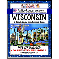 WISCONSIN State Symbols ADAPTED BOOK for Special Education and Autism