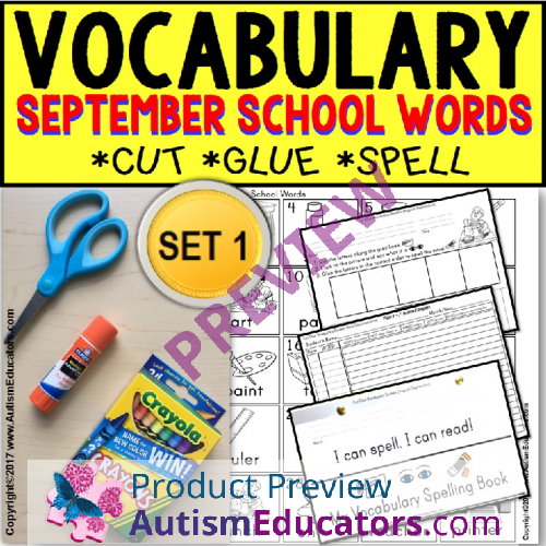 September Vocabulary And Fine Motor Monthly Worksheets For Special