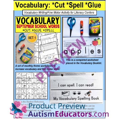 Vocabulary and Fine Motor MONTHLY Worksheets for Special Education – Education Worksheets