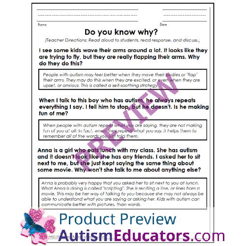 Awareness FREE Worksheets To Promote Understanding