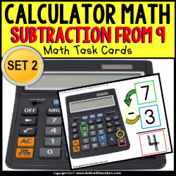 "CALCULATOR MATH Task Cards – Subtracting From 9 ""Task Box Filler"" for Autism"