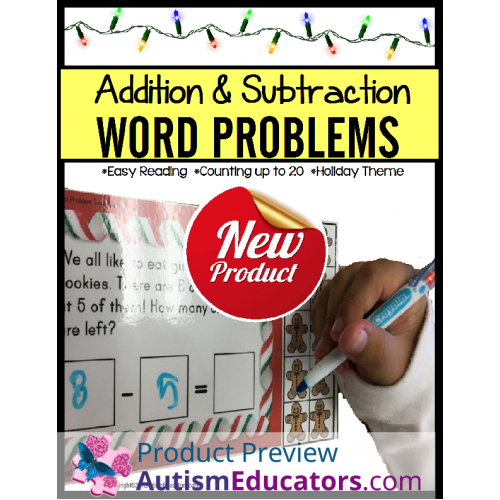 and SUBTRACTION Word Problems Up to 20 CHRISTMAS TASK CARDS for Autism