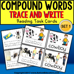 "COMPOUND WORDS for Visual Learners ""Task Box Filler"" for Special Education"
