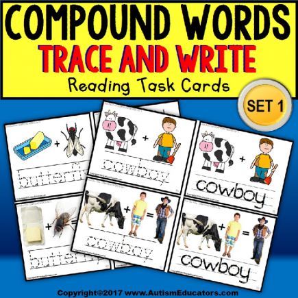 "COMPOUND WORDS Task Cards for Visual Learners ""Task Box Filler"" for Special Education"