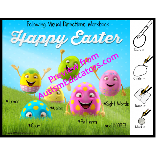 EASTER Workbook for Autism FOLLOWING VISUAL DIRECTIONS for Readers ...