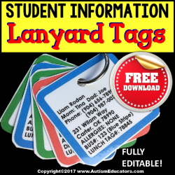 FREE Student Information Lanyard Tags For Paraprofessionals